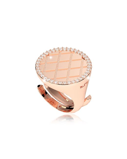 Rebecca - Pink Melrose Rose Gold Over Bronze Ring W/cubic Zirconia - Lyst