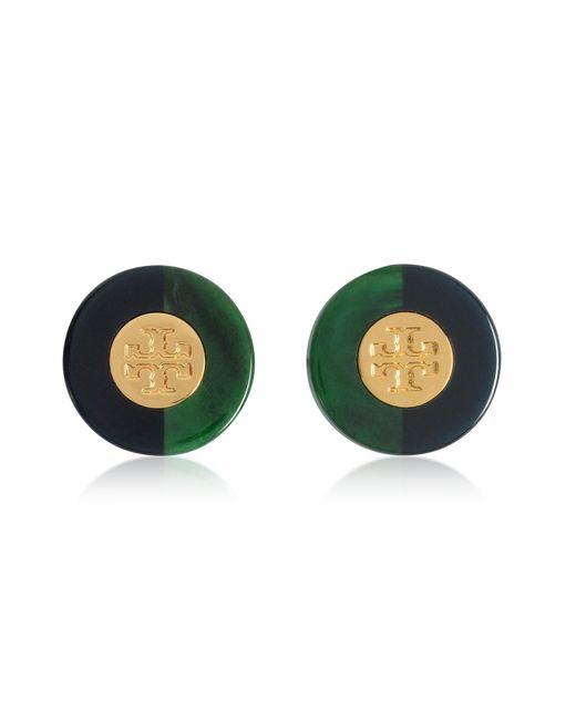 Tory Burch - Green Resin Color-block Stud Earrings W/goldtone Logo - Lyst