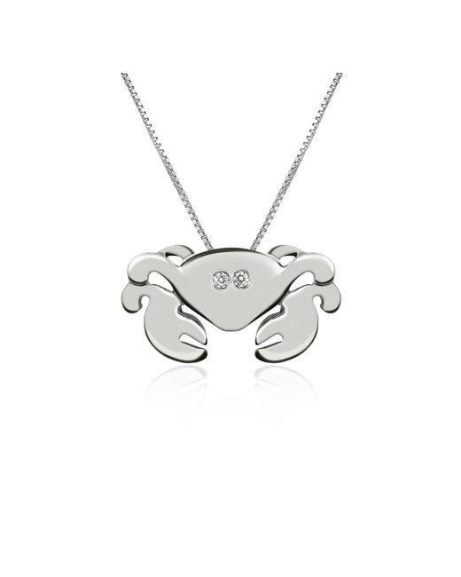 Forzieri - White Diamond 18k Gold Crab Pendant Necklace - Lyst