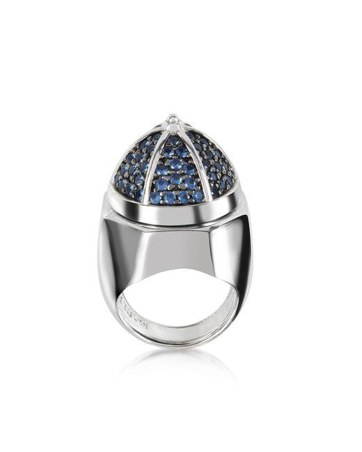 Azhar - Metallic Rhodium Plated Sterling Silver Adjustable Ring W/black Cubic Zirconia - Lyst