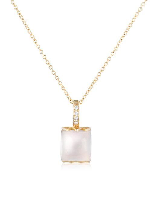 Mia & Beverly | Metallic Rose Quartz And Diamond 18k Gold Charm Necklace | Lyst