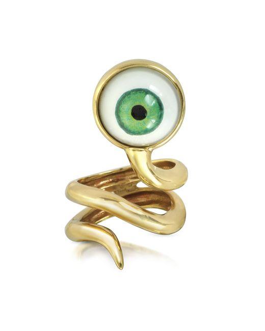 Bernard Delettrez - Metallic Bronze Snake Ring With Eye - Lyst