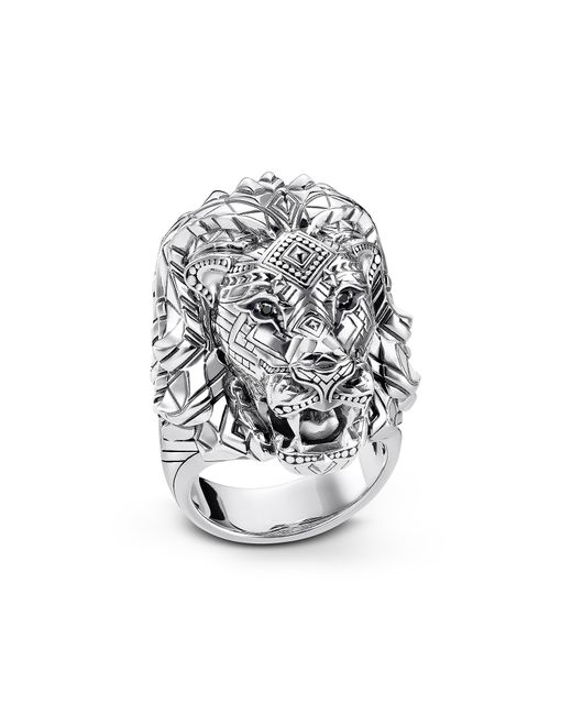 Thomas Sabo - Metallic Blackened Sterling Silver Lion Ring W/black Zirconia Pavè - Lyst