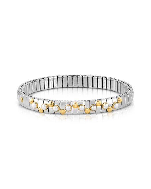 Nomination - Metallic Golden Stainless Steel Women's Bracelet W/white Opal Beads - Lyst