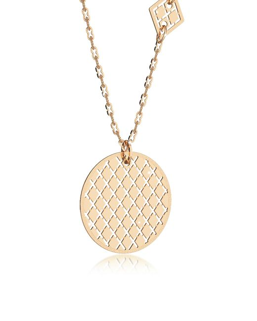 Rebecca - Melrose Yellow Gold Over Bronze Necklace W/geometric Charms - Lyst