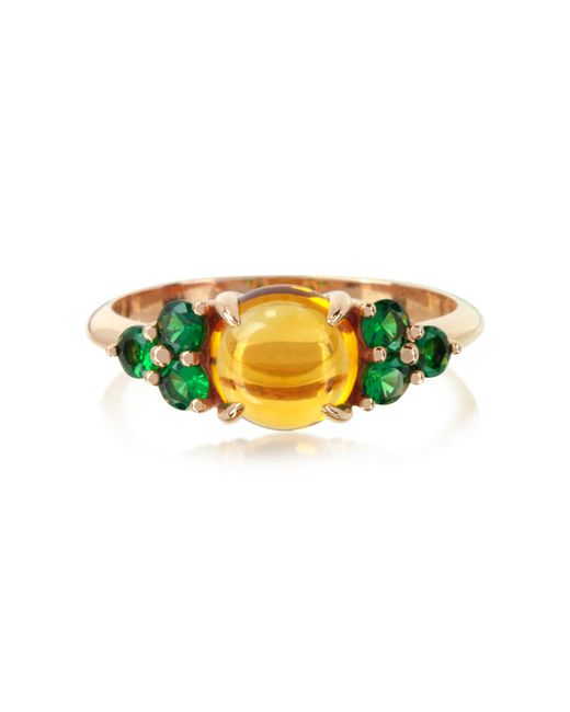 Mia & Beverly - Yellow Citrine Quartz And Sapphires 18k Rose Gold Ring - Lyst
