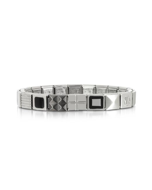 Nomination - Metallic Steel Ikons Black Enamel And Brushed Stainless Steel Bracelet for Men - Lyst