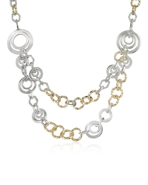 AZ Collection   Metallic Crystal Chain Opera Necklace   Lyst
