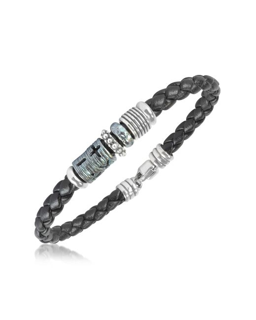 Tedora | Metallic Silver Band Braided Leather Bracelet for Men | Lyst