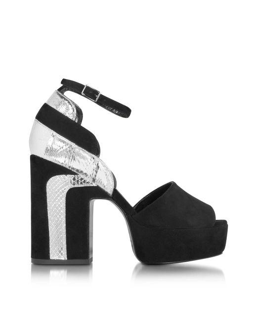 ccae8c0e016ebc Pierre Hardy - Roxy Black Suede And Silver Ayers Platform Sandal - Lyst