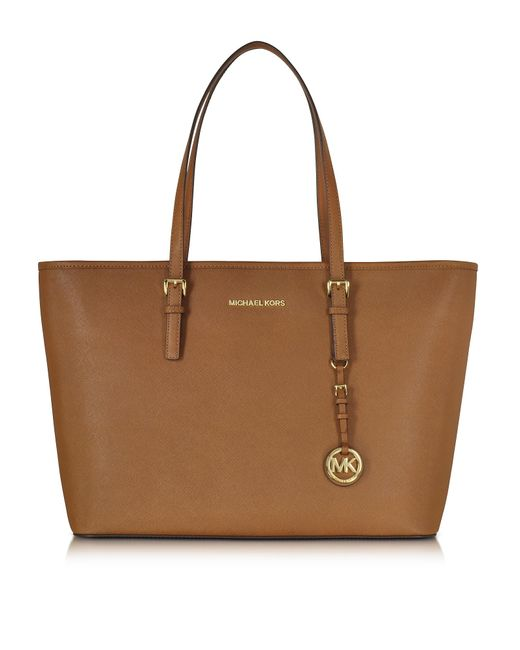 Michael Kors | Brown Jet Set Travel Medium Luggage Saffiano Leather Top-zip Tote | Lyst