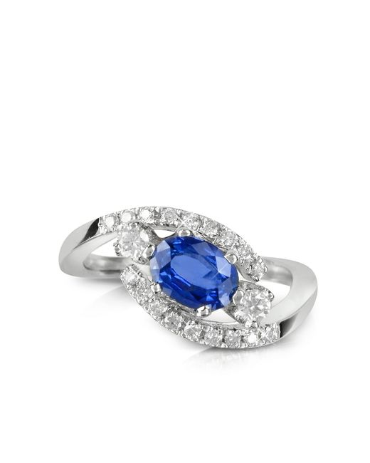 Forzieri | Blue Sapphire And Diamond 18k White Gold Ring | Lyst