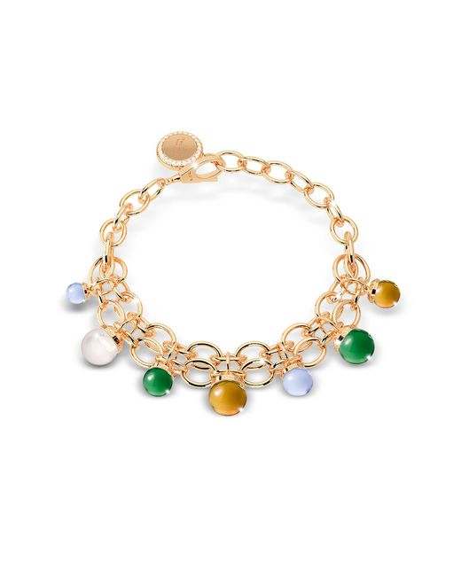 Rebecca | Metallic Hollywood Stone Yellow Gold Over Bronze Chains Bracelet W/hidrothermal Stones | Lyst