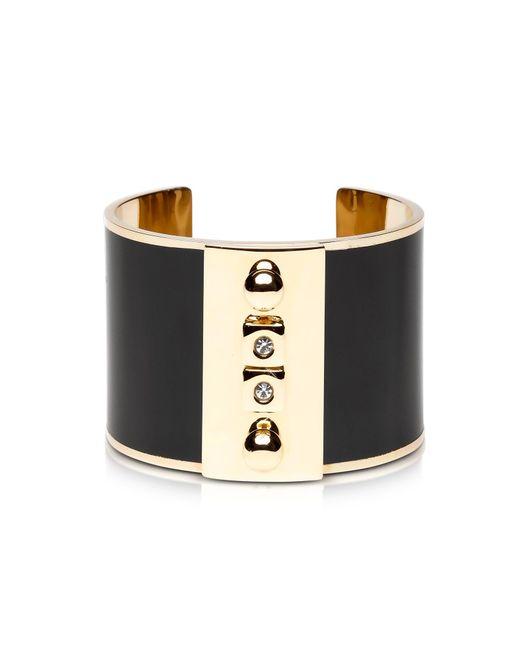Pluma | Golden Brass And Black Enamel Cuff | Lyst