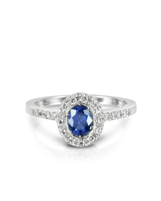 Forzieri - Blue Sapphire And Diamond 18k White Gold Ring - Lyst