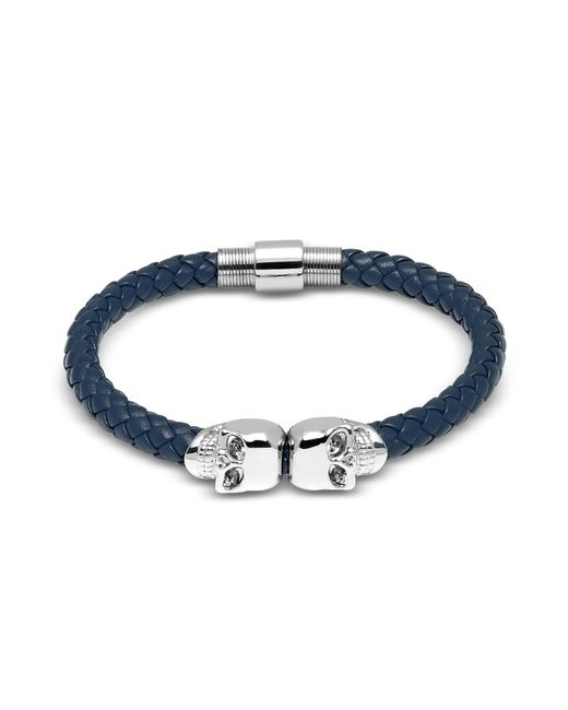 Northskull | Denim Blue Nappa Leather W/ Silver Twin Skull Bracelet | Lyst