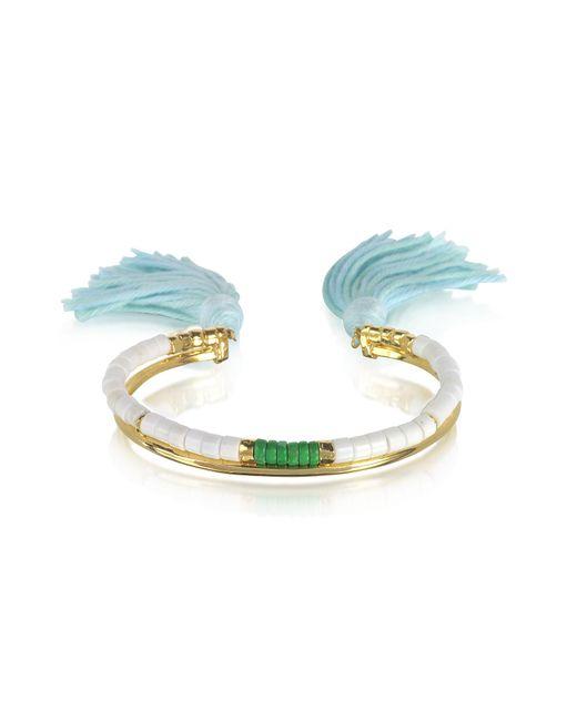 Aurelie Bidermann | 18k Gold-plated & White Bamboo And Green Jaspe Beads Sioux Bracelet W/light Blue Cotton Tassels | Lyst