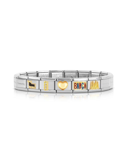Nomination - Metallic Classic I Love Barca Gold And Stainless Steel Bracelet - Lyst