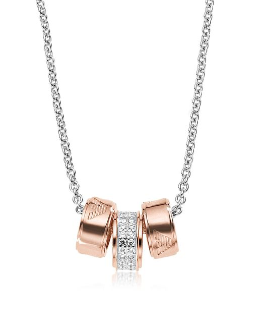 Emporio Armani | Metallic Heritage Stealing Silver Pvd Rose Goldtone Charms Necklace | Lyst