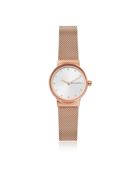 Skagen - Multicolor Freja Rose Gold-tone Steel-mesh Women's Watch - Lyst