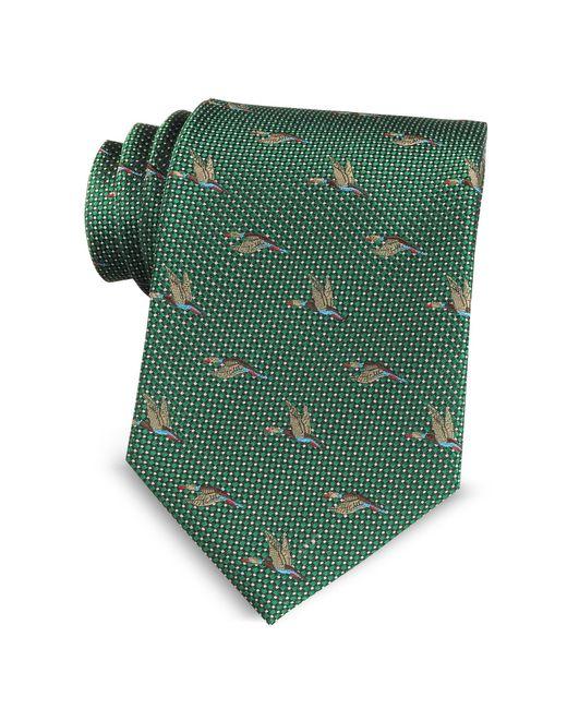 Marina D'este - Green Flying Duck Woven Silk Tie for Men - Lyst
