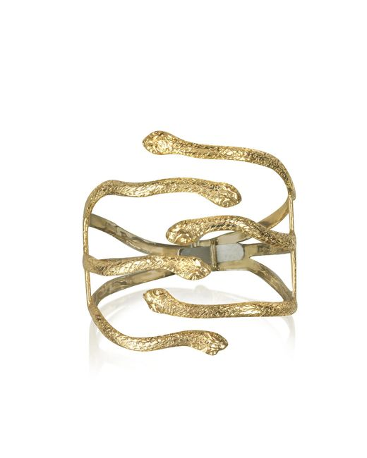 Bernard Delettrez - Multicolor Six Snake Bronze Cuff Bracelet - Lyst