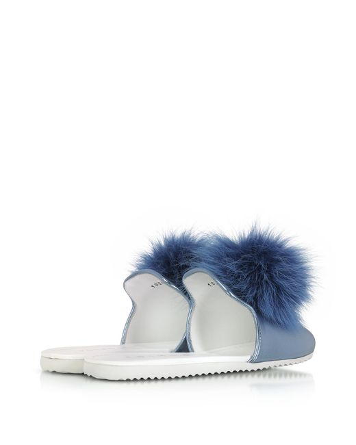 JOSHUA SANDERS Designer Shoes, Laminated Leather Pom Pom Mule