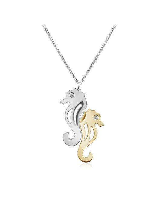 Forzieri - White Diamond & 18k Gold Seahorses Pendant Necklace - Lyst