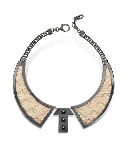 Avril 8790 - Metallic Bavero Contemporaneo Ruthenium Plated Brass And Golden Viscose Necklace - Lyst