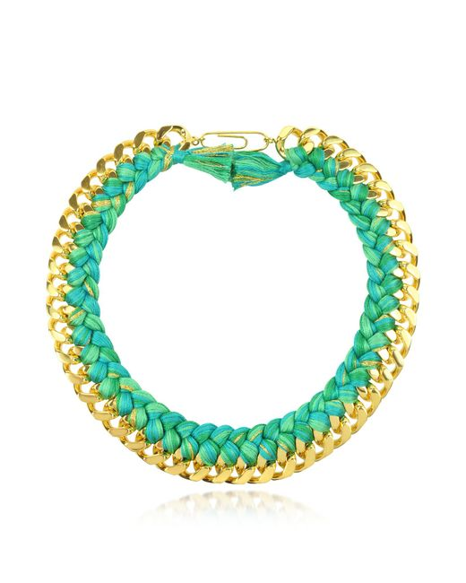 Aurelie Bidermann | Green Do Brasil Gold And Cotton Necklace | Lyst
