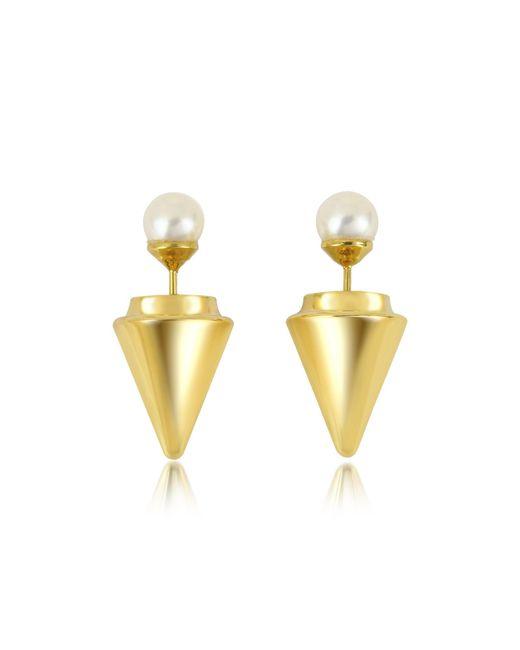 Vita Fede - White Gold Plated Double Titan Pearl Earrings W/akoya Pearls - Lyst