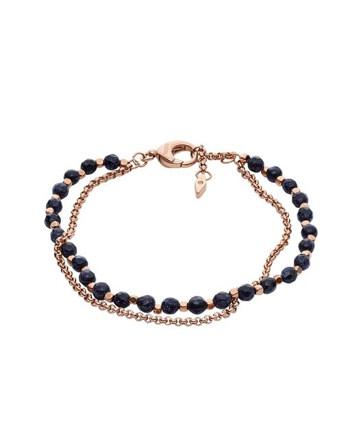 Fossil - Metallic Shimmer Glass Stone Double Chain Women's Bracelet - Lyst