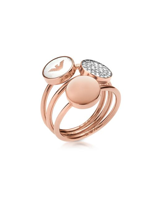 Emporio Armani | Pink Signature Rose Goldtone Triple Ring | Lyst