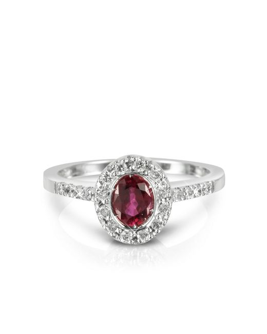 Forzieri | Red Ruby And Diamond 18k White Gold Ring | Lyst