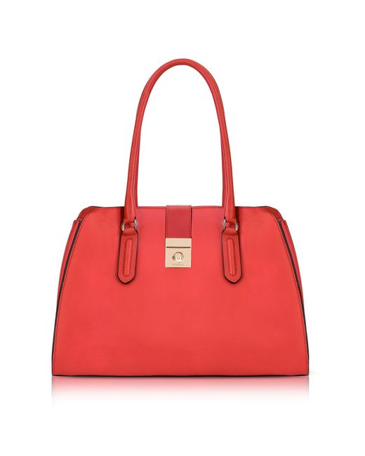 Furla | Red Ruby Milano Medium Leather Tote Bag | Lyst