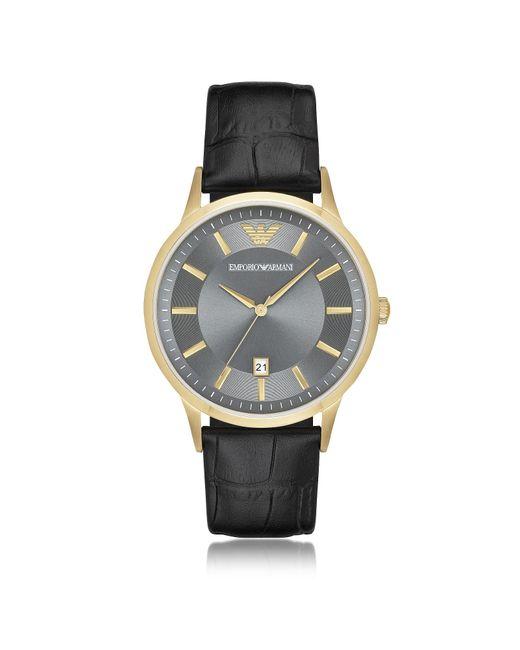 Emporio Armani - Metallic Gold-tone Pvd Stainless Steel Men's Quartz Watch W/croco Embossed Leather Strap for Men - Lyst