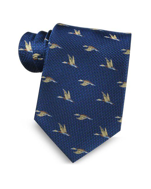 Marina D'este | Blue Flying Duck Woven Silk Tie for Men | Lyst