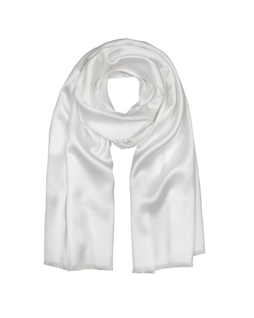 Forzieri - Pure White Silk Men's Long Scarf for Men - Lyst