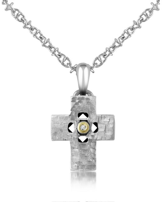 Forzieri - Metallic Diamond And Hammered Stainless Steel Cross Pendant Necklace for Men - Lyst