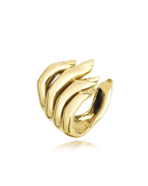 Bernard Delettrez - Metallic Goldtone Open Hand Women's Bronze Ring - Lyst