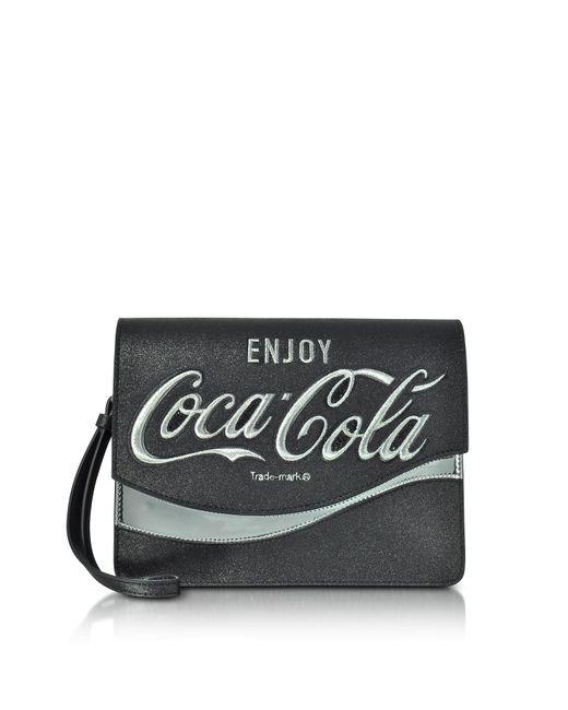 Pinko   Solitario Black Eco Leather Clutch   Lyst