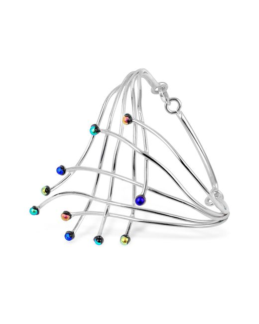 Forzieri - Metallic Fireworks Glass Stones Sterling Silver Cuff Bracelet - Lyst