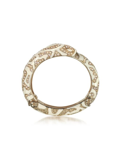 Roberto Cavalli - Metallic Golden Brass And Ivory Enamel Snake Bangle W/crystals - Lyst