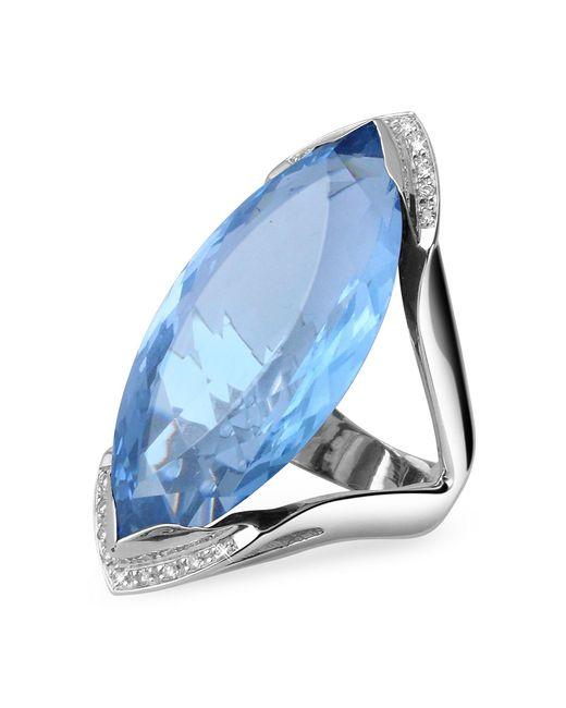 Forzieri - Blue Topaz And Diamond White Gold Fashion Ring - Lyst