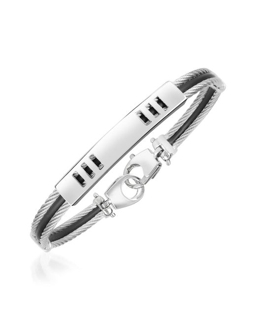 Forzieri - Metallic Di Fulco Line Stainless Steel Men's Bracelet for Men - Lyst