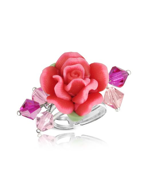 Dolci Gioie | Sterling Silver Red Rose Ring | Lyst