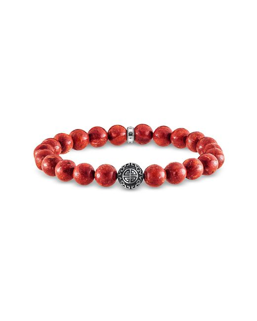 Thomas Sabo - Red Sterling Silver And Coral Beads Bracelet for Men - Lyst