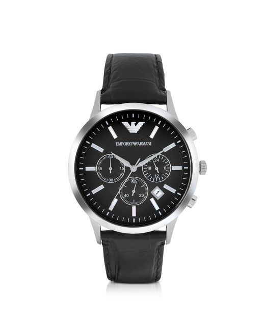 Emporio Armani - Black Stainless Steel Chronograph Watch W/embossed Leather Strap for Men - Lyst