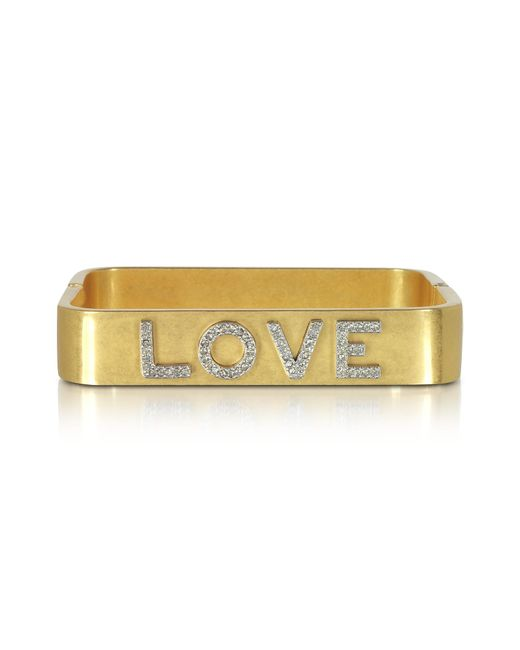 Tory Burch | Metallic Love Message Vintage Goldtone Cuff Bracelet | Lyst