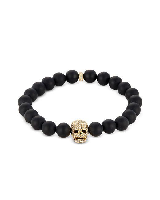Northskull - Matte Black Onyx/gold Skull Bracelet With Crystals - Lyst